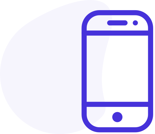 Shape with mobile phone icon