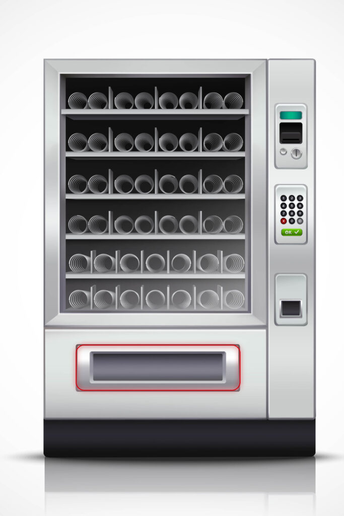 Vending Machine with illuminated delivery tray